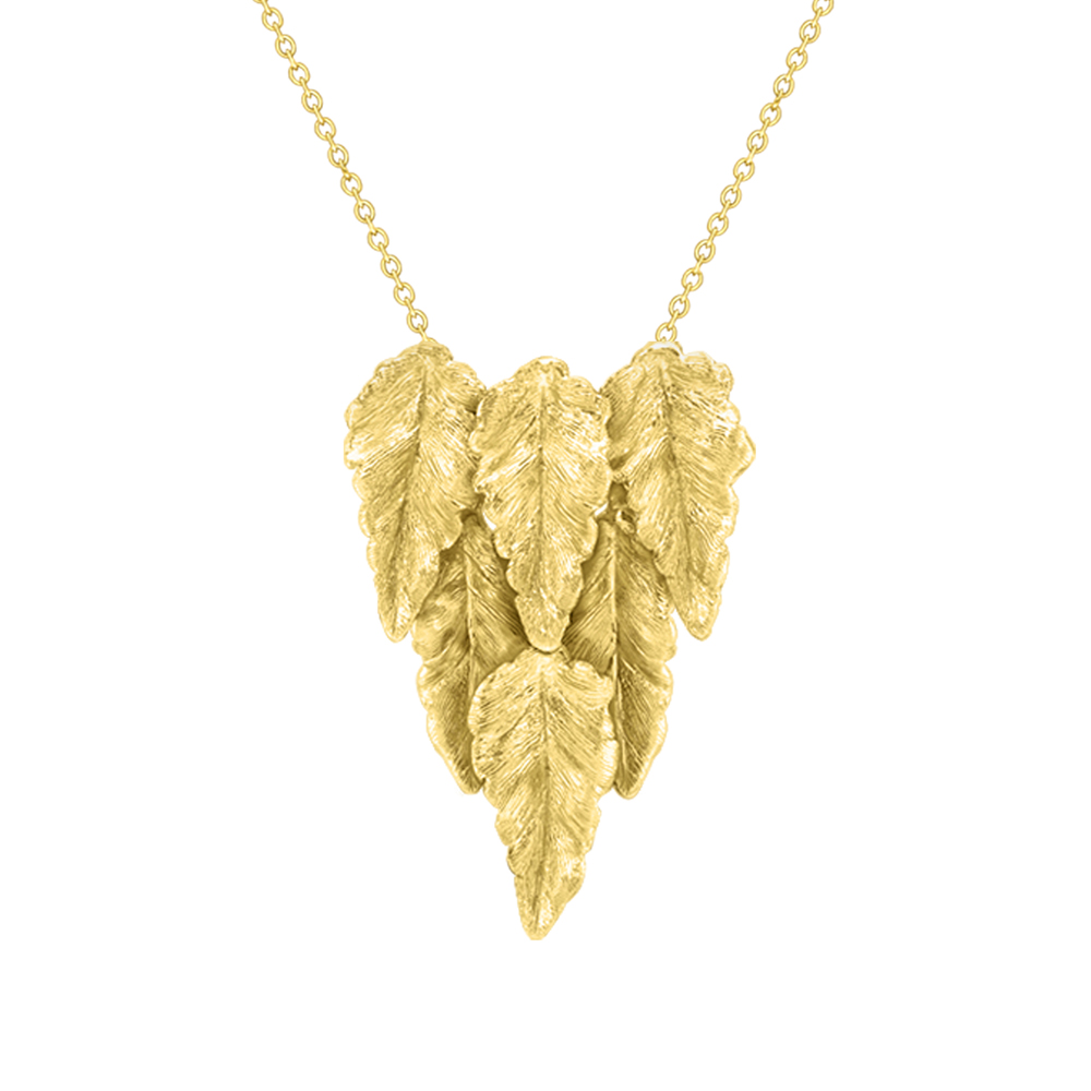 Golden leaf drop necklace yellow gold