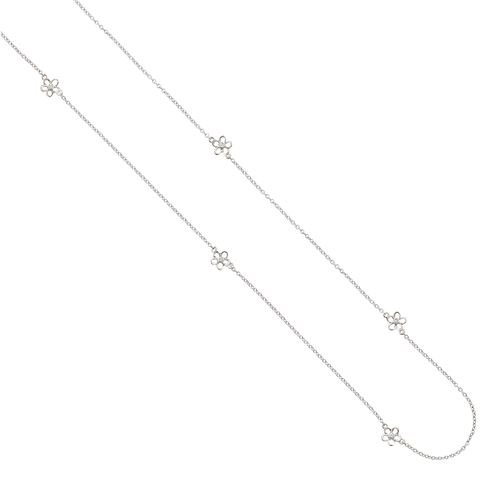 Diamond buttercup flower necklace white gold