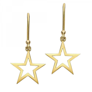 Open frame star drop earrings yellow gold