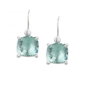 White gold green amethyst earrings