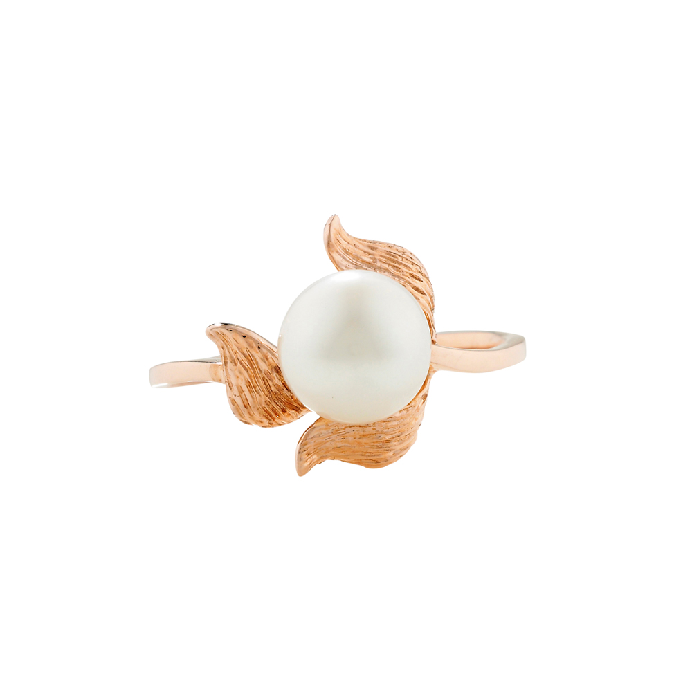 Cultured freshwater pearl trillium ring rose gold