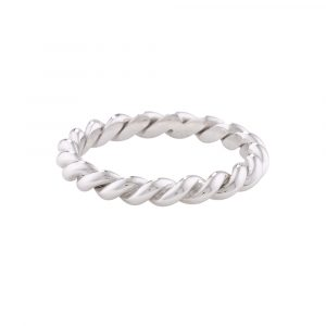 Rope stack ring white gold