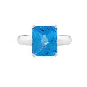 White gold blue topaz cushion ring