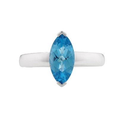 Blue topaz marquise ring white gold