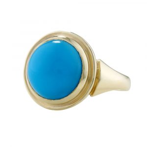 Turquoise cocktail ring yellow gold