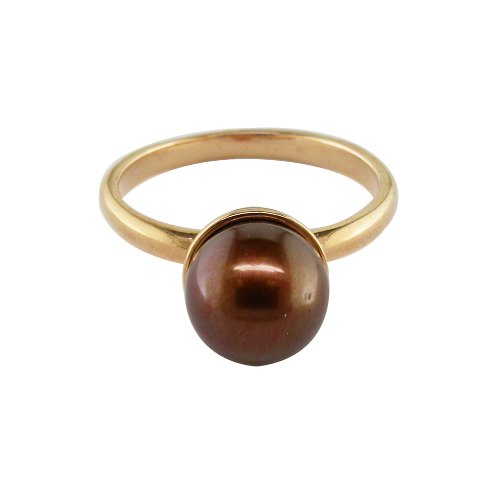 Bronze cultured freshwater pearl ring rose gold