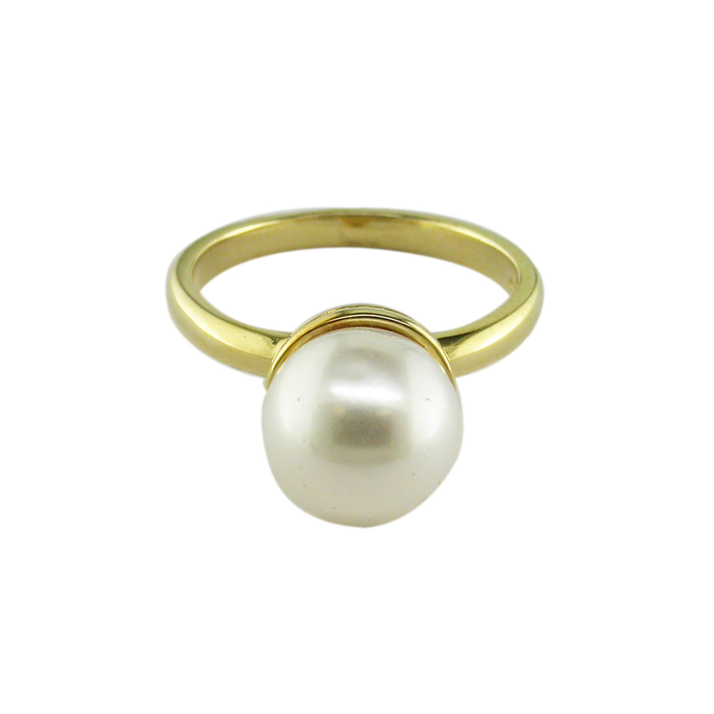 Modern Yellow Gold White Pearl Ball Ring