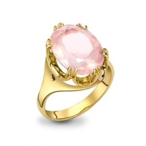 Rose quartz cocktail ring yellow gold