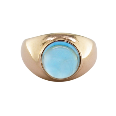 Blue topaz single stone bubble ring rose gold