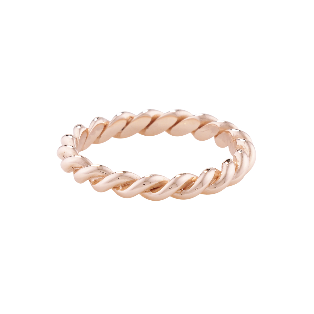 Designer Rose Gold Rope Stack Ring London Road Jewellery
