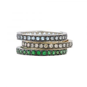 Blue topaz, cappuccino brown diamond and tsavorite garnet stack rings white and yellow gold