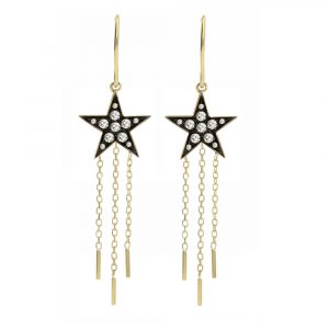 Diamond star drop earrings yellow gold