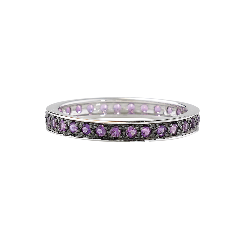 Fine White Gold Amethyst Stack Ring