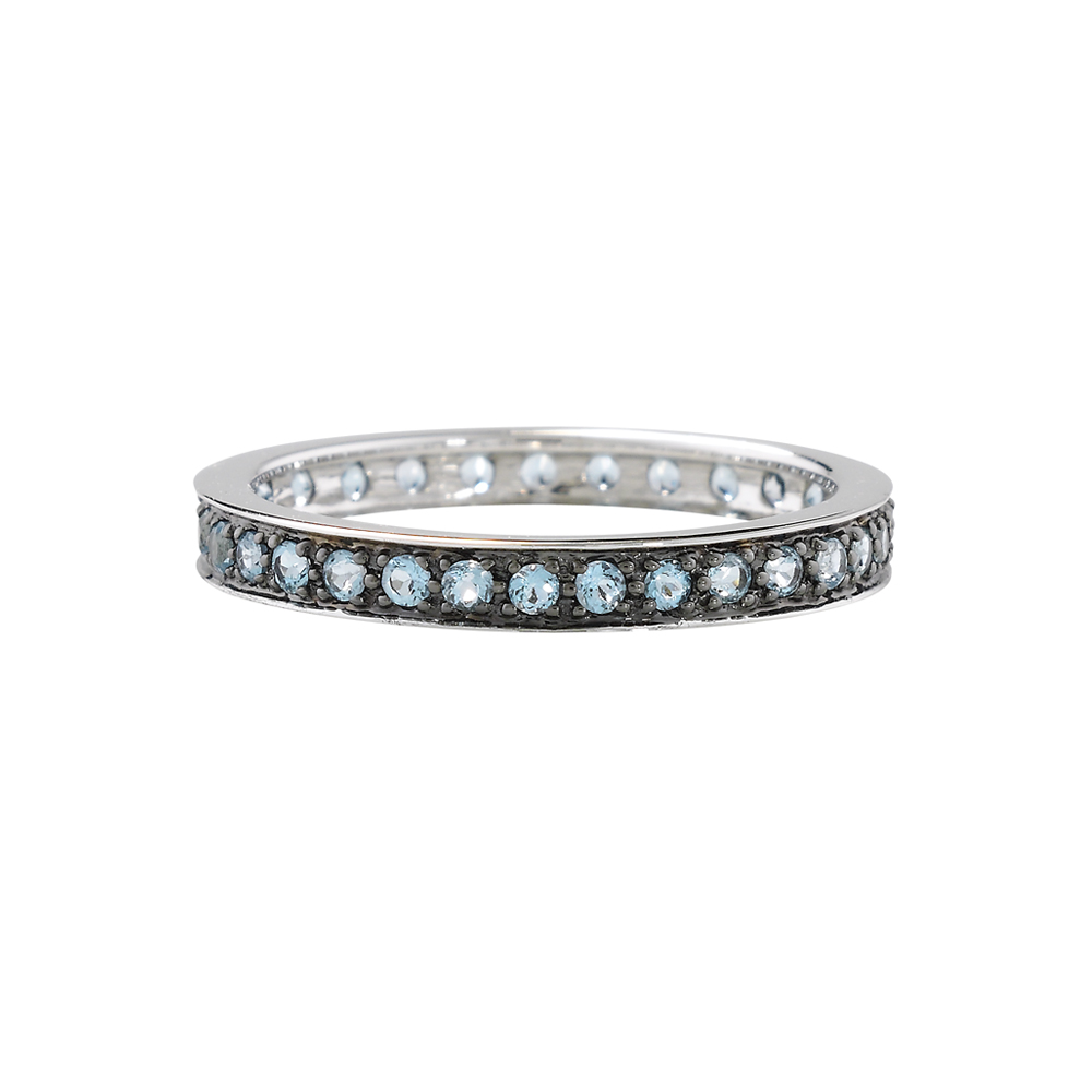 Blue topaz full eternity stack ring white gold