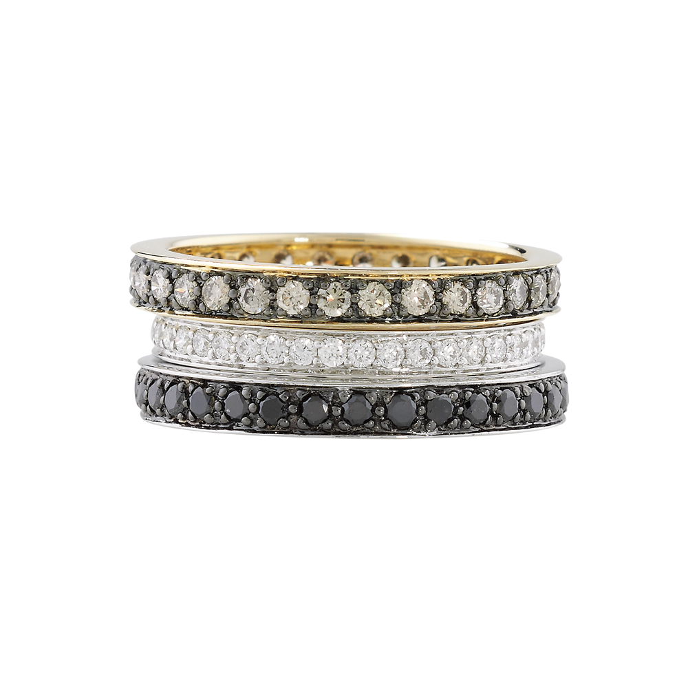 White, brown and black diamond stack rings yellow and white gold