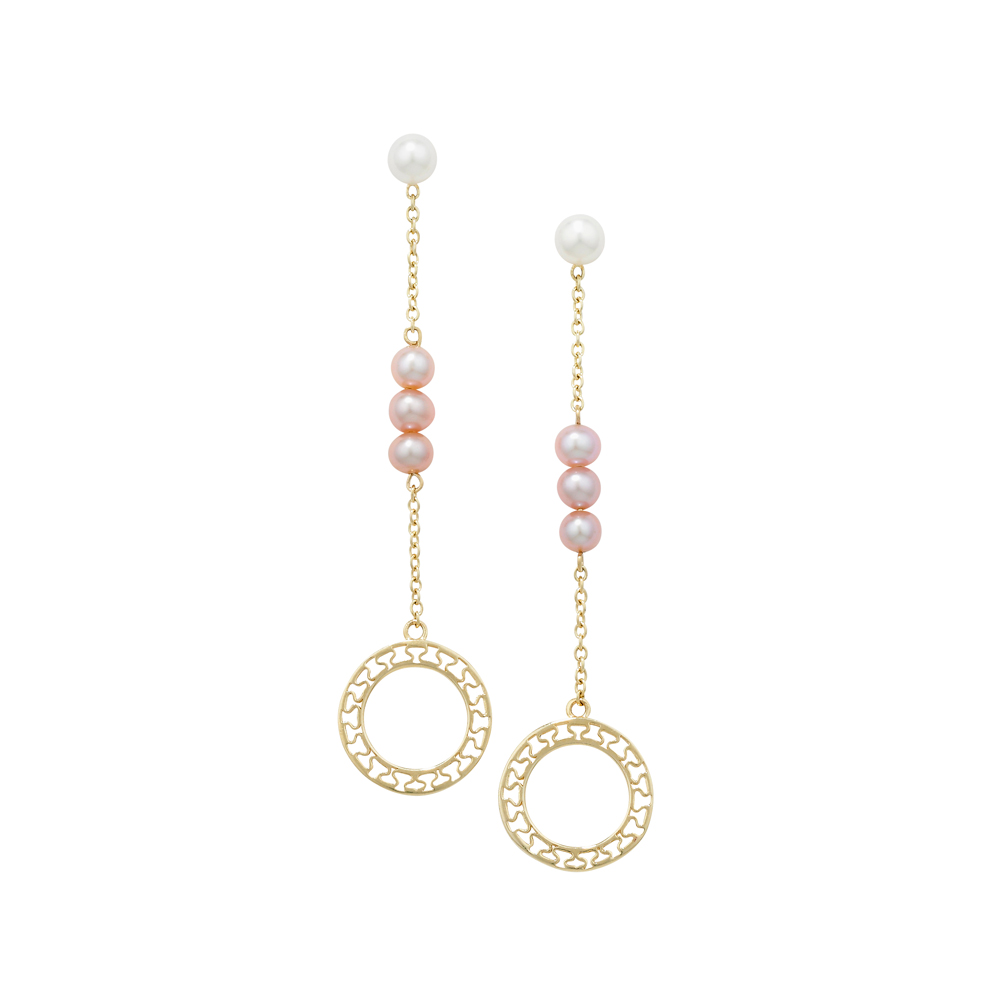 Cultured freshwater pearl disc drop earrings yellow gold
