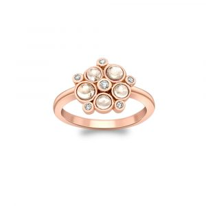 Diamond and moonstone bubble cluster ring rose gold