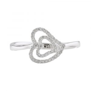 Diamond open heart cluster ring white gold