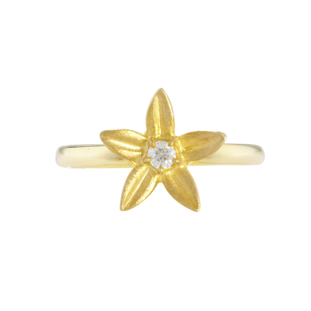 Diamond starflower ring yellow gold