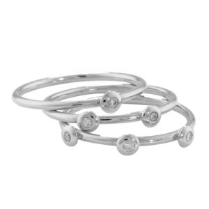 Diamond stack ring white gold
