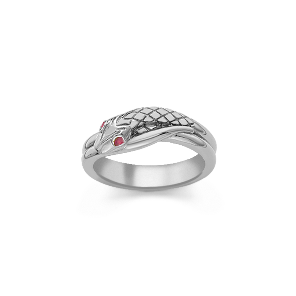 Ruby serpent snake ring silver