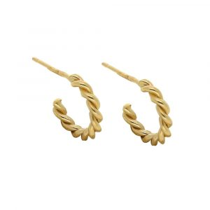 Twisted rope hoop earrings yellow gold