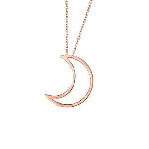 Open moon pendant rose gold