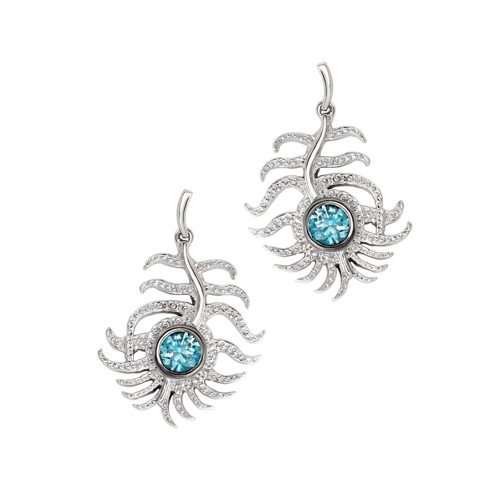Blue zircon peacock drop earrings white gold