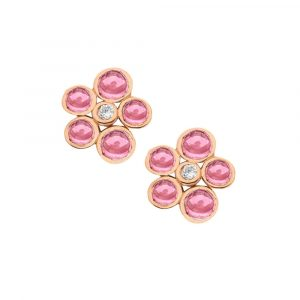Diamond and pink tourmaline bubble cluster stud earrings rose gold