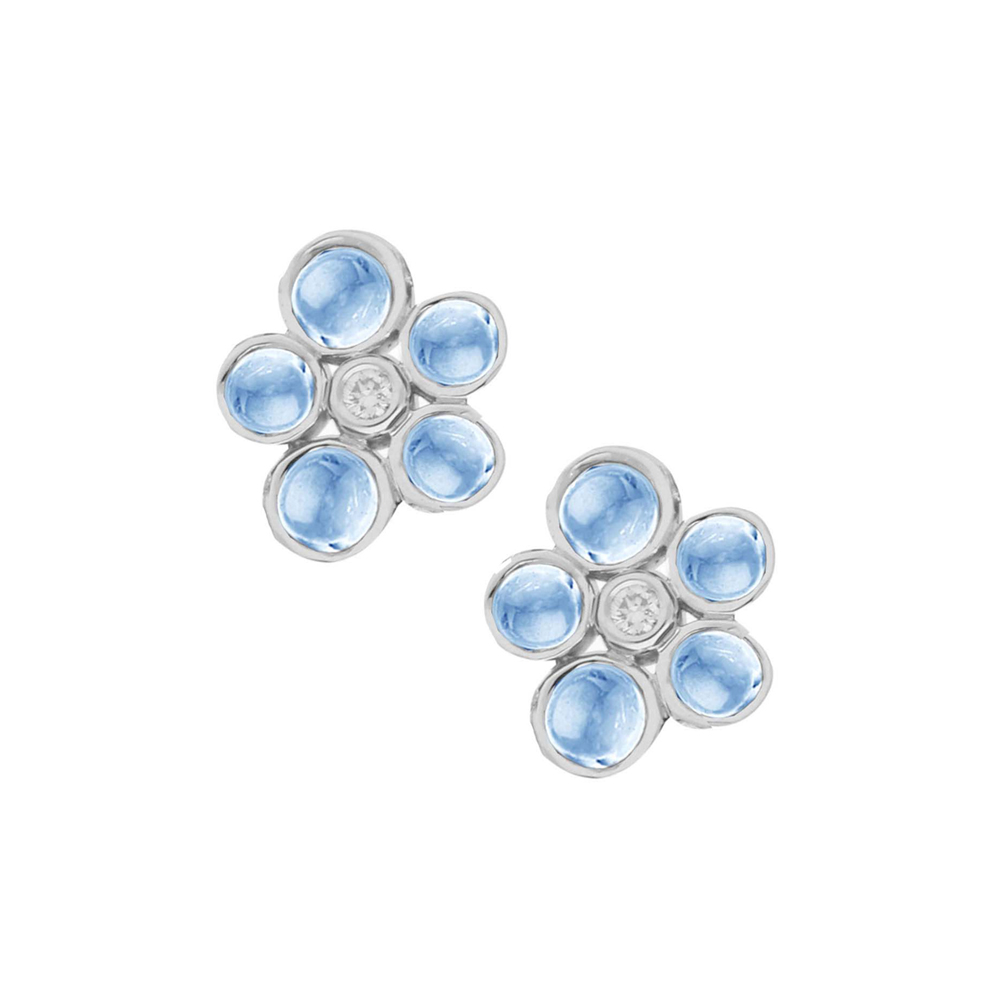 Diamond and blue topaz bubble cluster stud earrings white gold