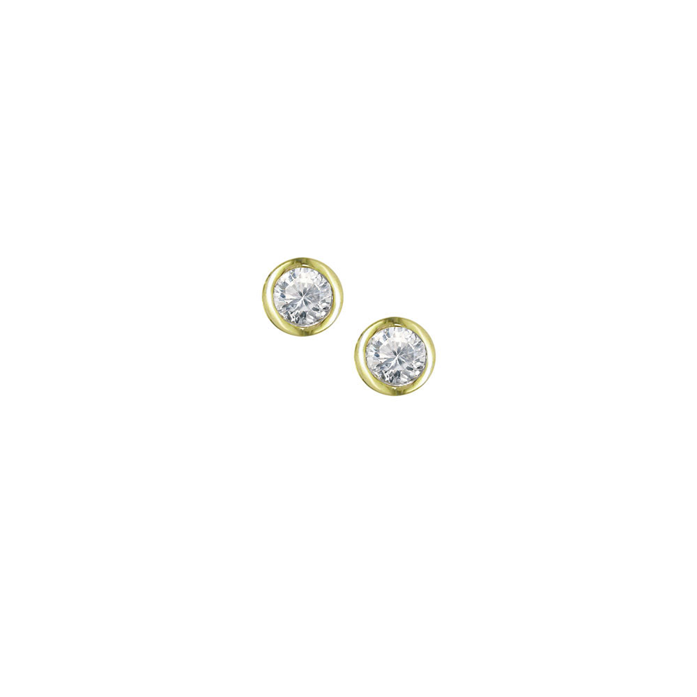 Diamond earrings yellow gold single stone stud