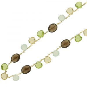 Gemstone necklace yellow gold