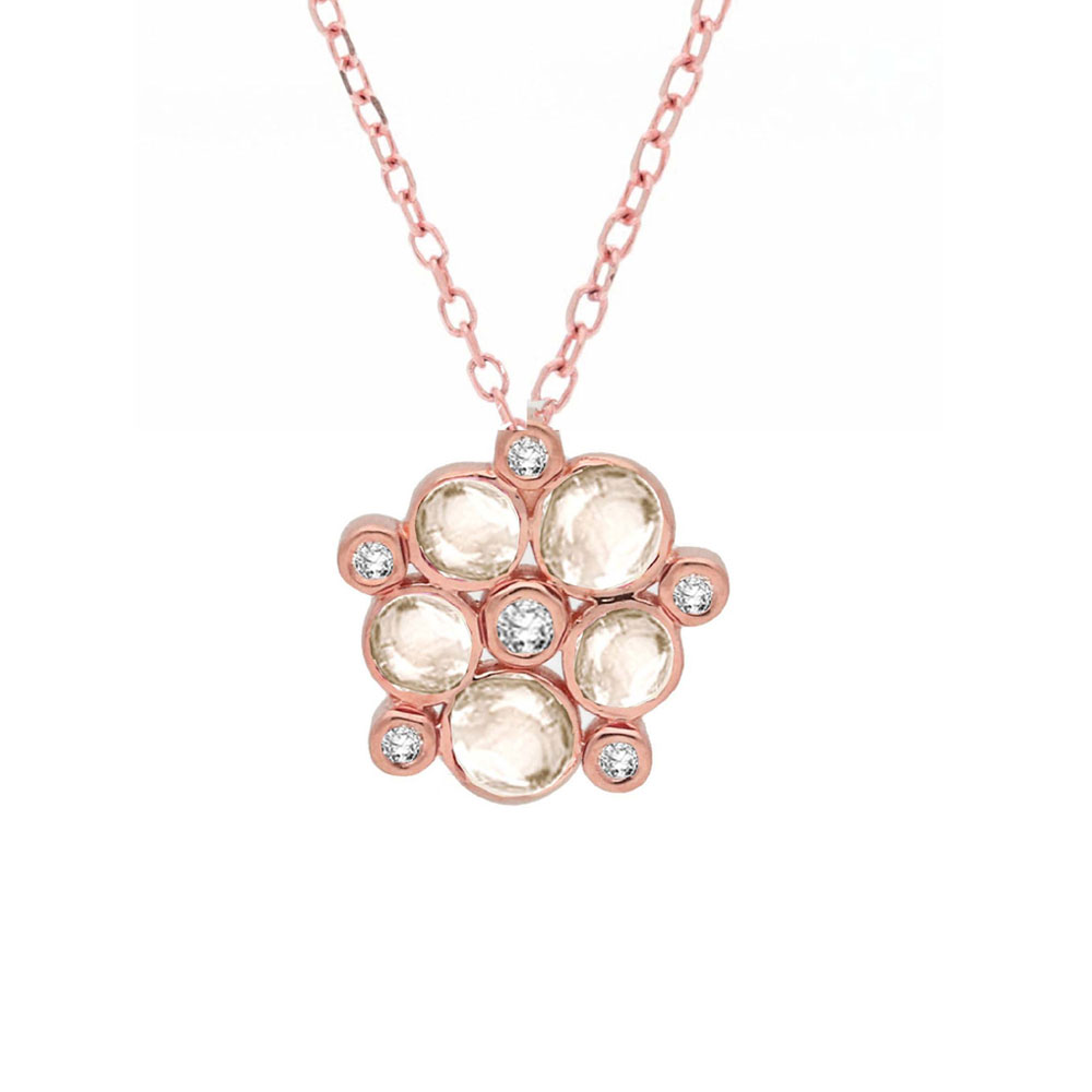 Diamond and moonstone bubble cluster pendant rose gold