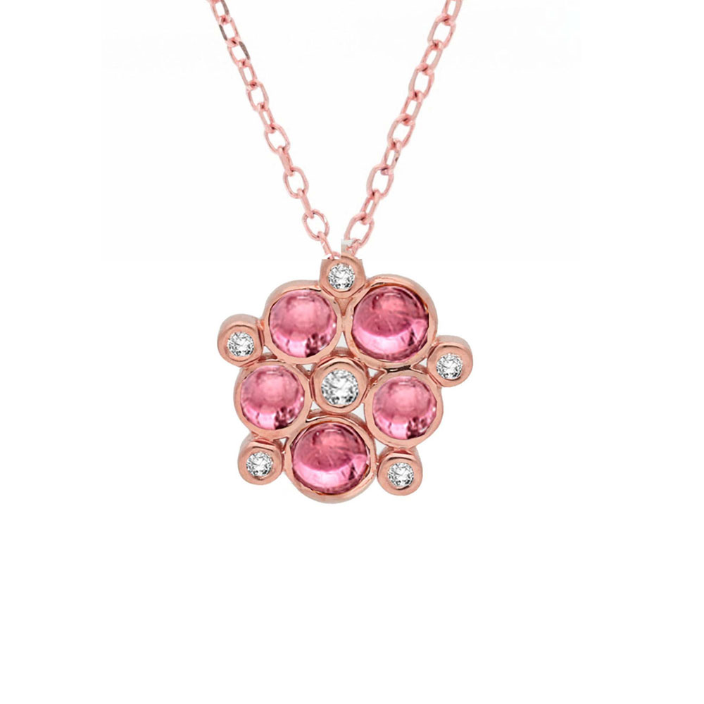 Diamond and pink tourmaline bubble cluster pendant rose gold