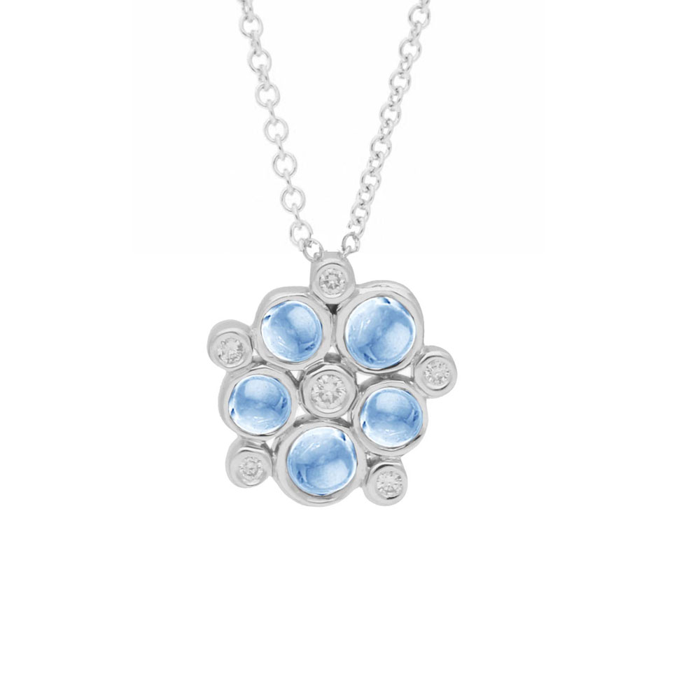 Diamond and blue topaz bubble cluster pendant white gold