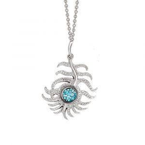 Blue zircon peacock pendant white gold