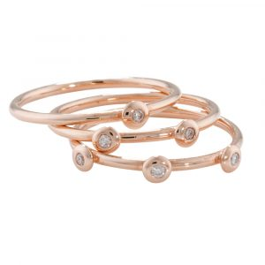 Diamond stack ring rose gold