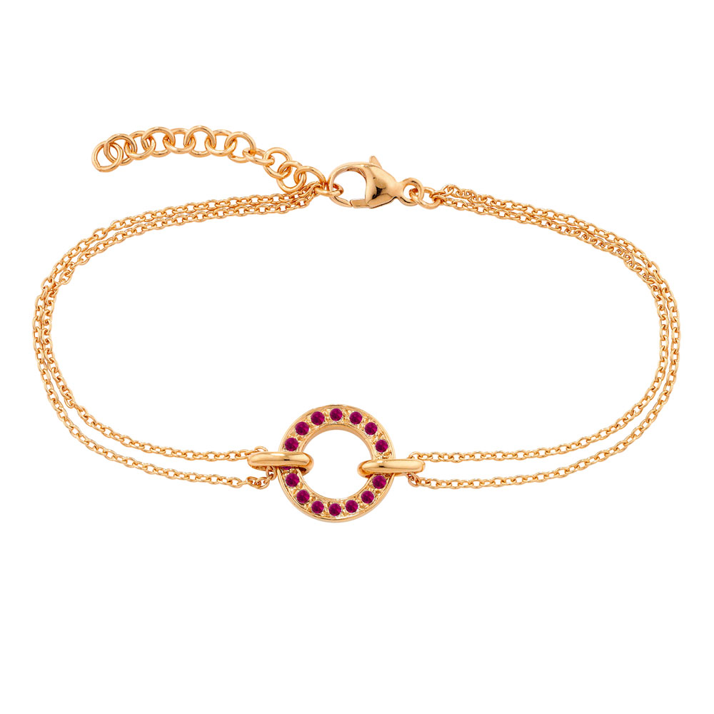 Rose gold ruby circle Meridian bracelet
