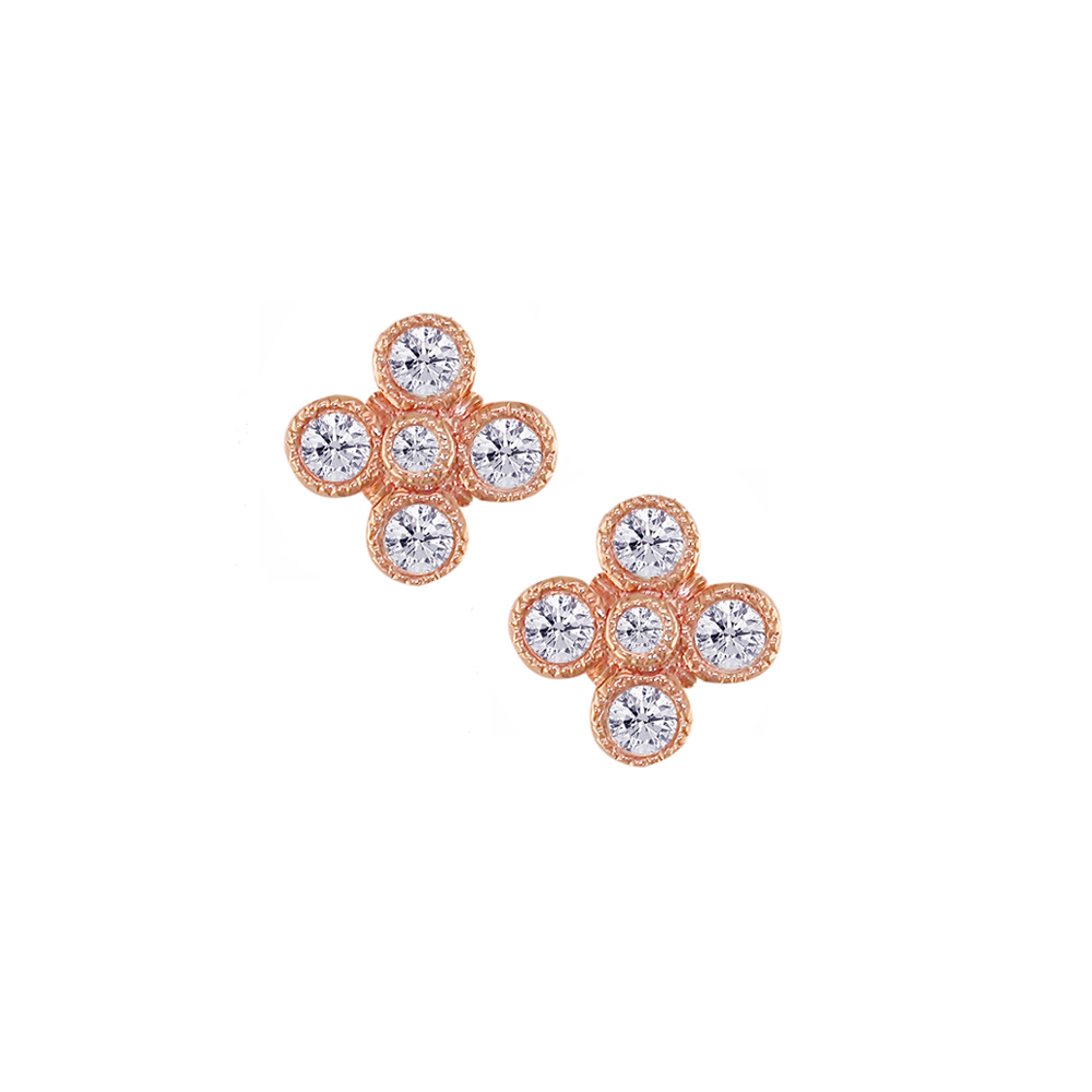 Rose gold diamond Retro stud earrings