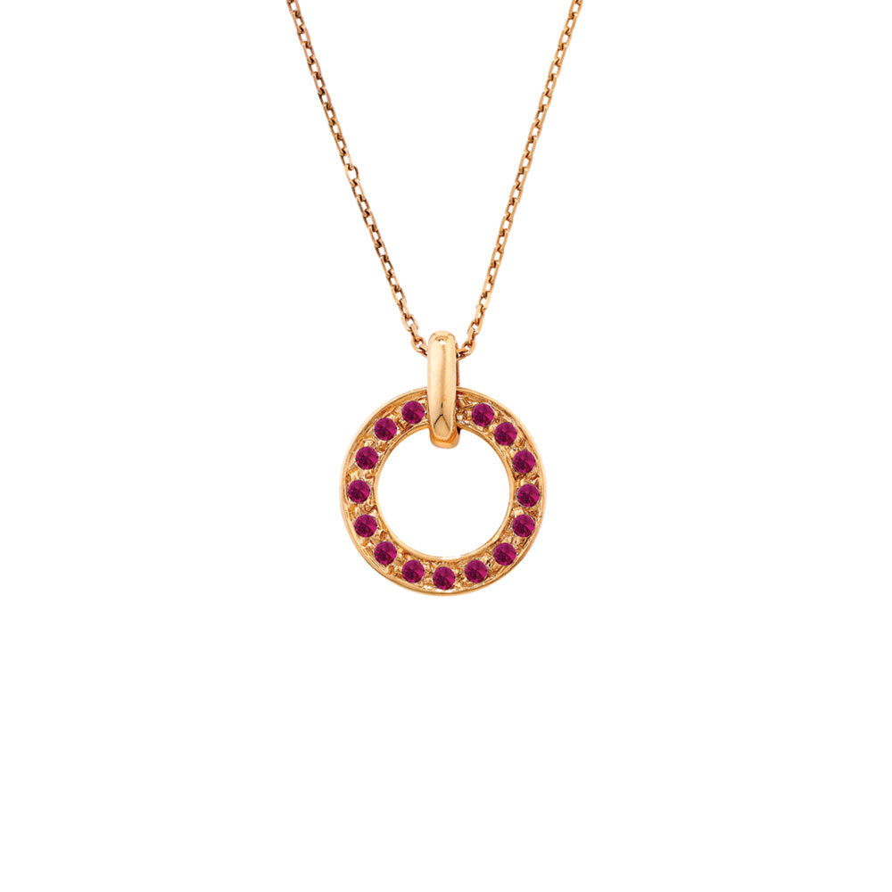 Rose gold ruby meridian circle pendant