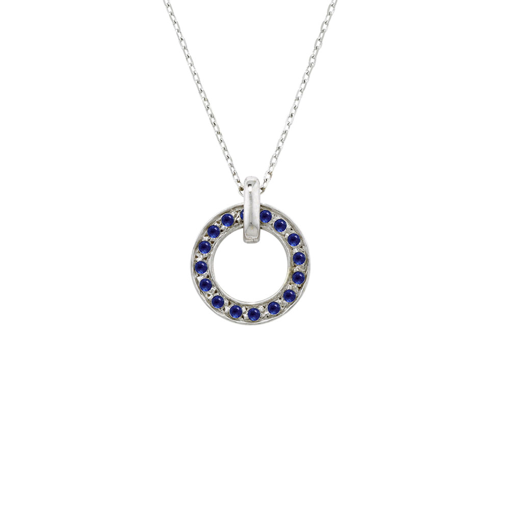 White gold sapphire circle meridian pendant