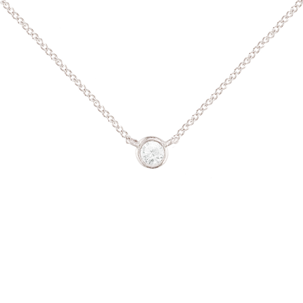 White gold diamond solitaire pendant