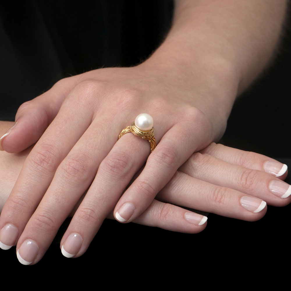 Willow Gold Pearl Ring - London Road Jewellery
