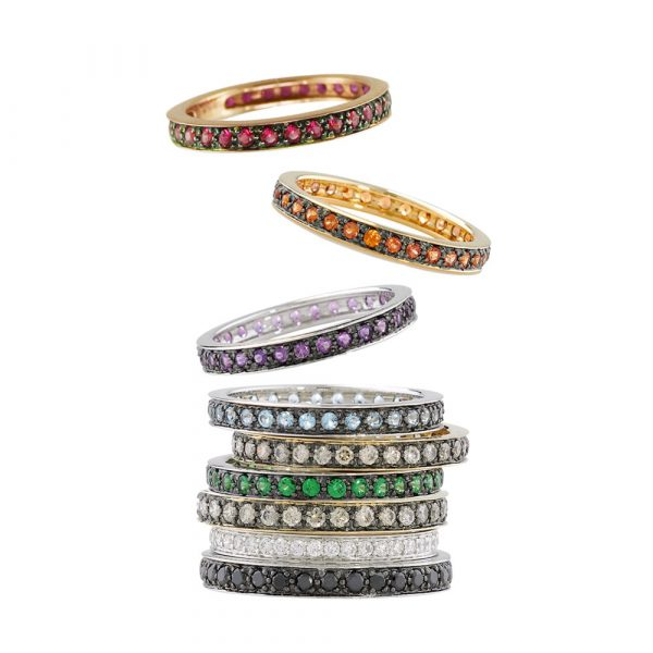 Yellow, white gold diamond and multi gem Soho stack rings