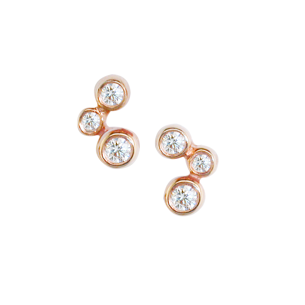 London Road Rose Gold Diamond Stud Earrings