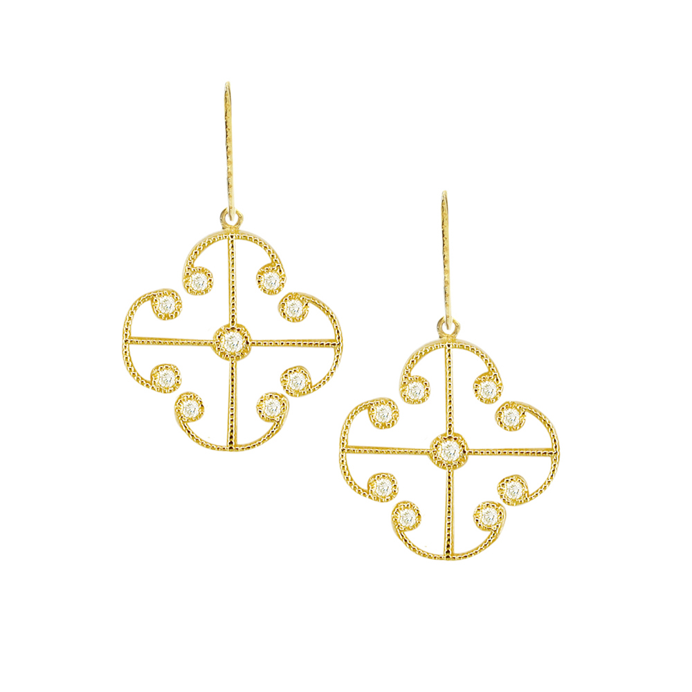 Yellow gold diamond Lattice earrings