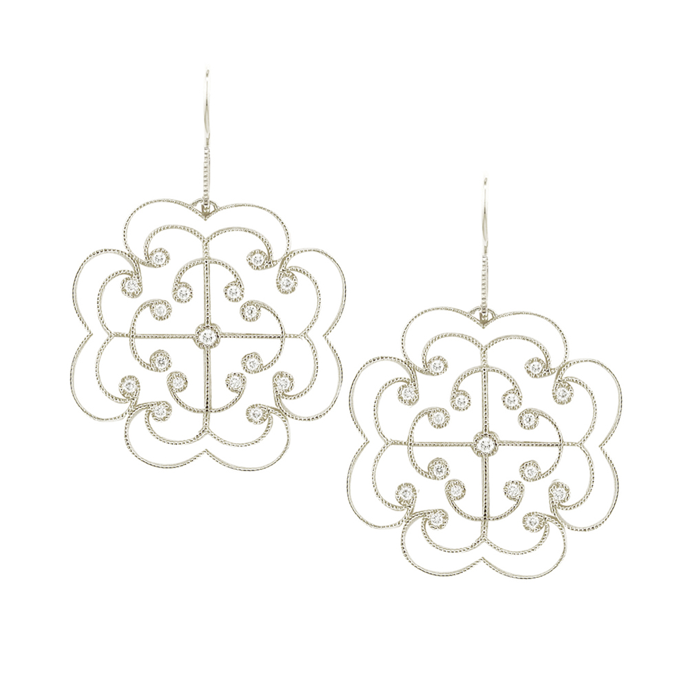 White gold diamond large Lattice earrings