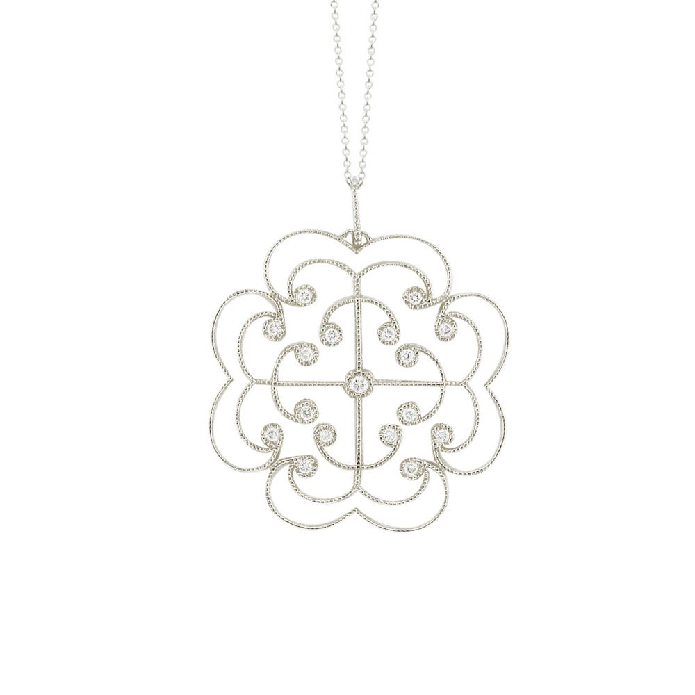 White gold diamond Lattice large pendant
