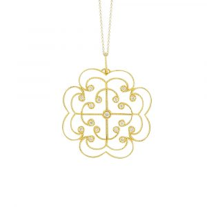 Yellow gold diamond Lattice large pendant