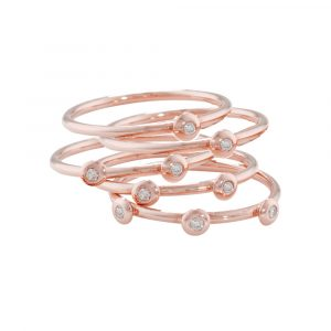 Rose gold diamond 5 stack diamond Raindrop rings